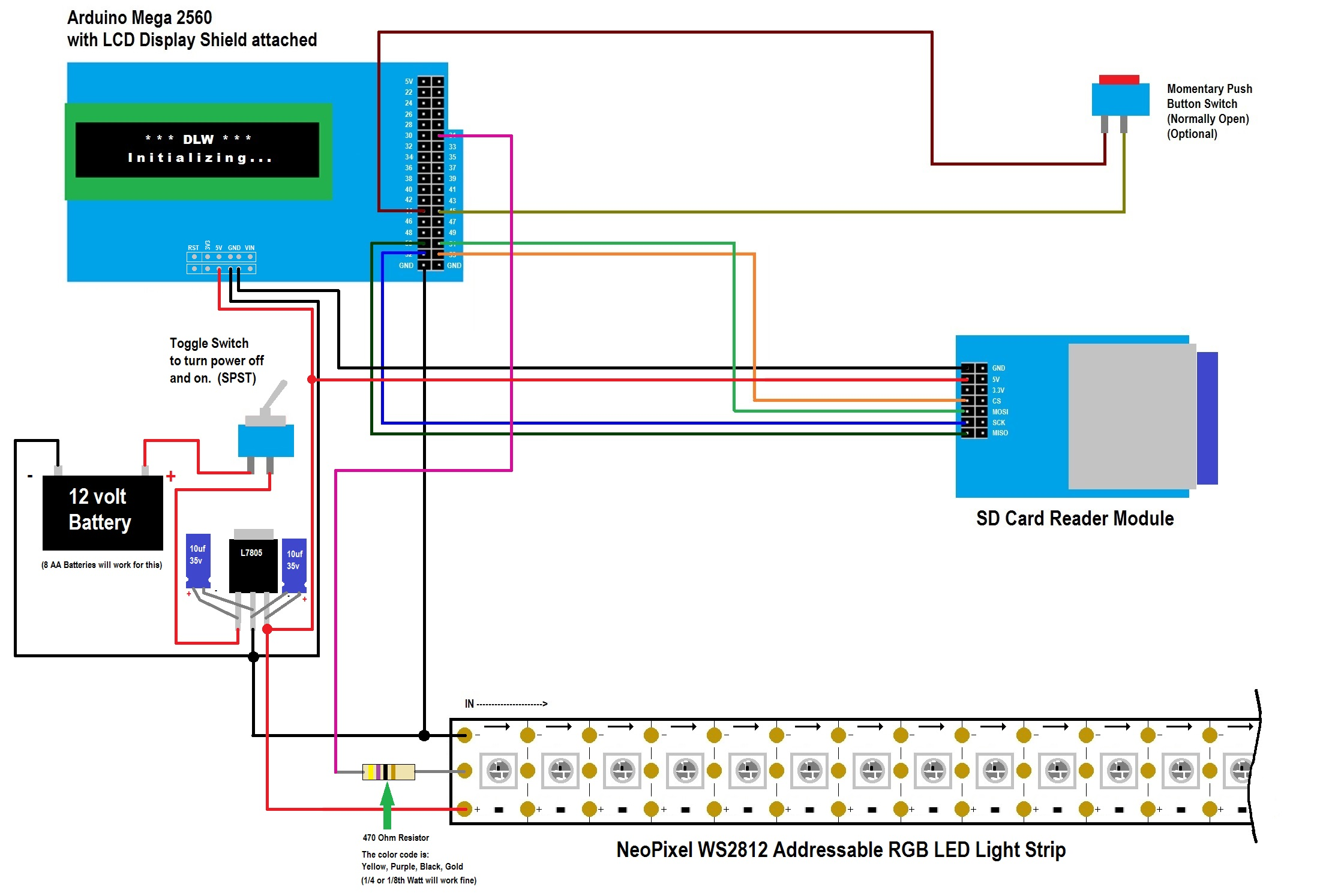 1) Click here to download the Wiring Diagram for the NeoPixel WS2812  Digital Light Wand